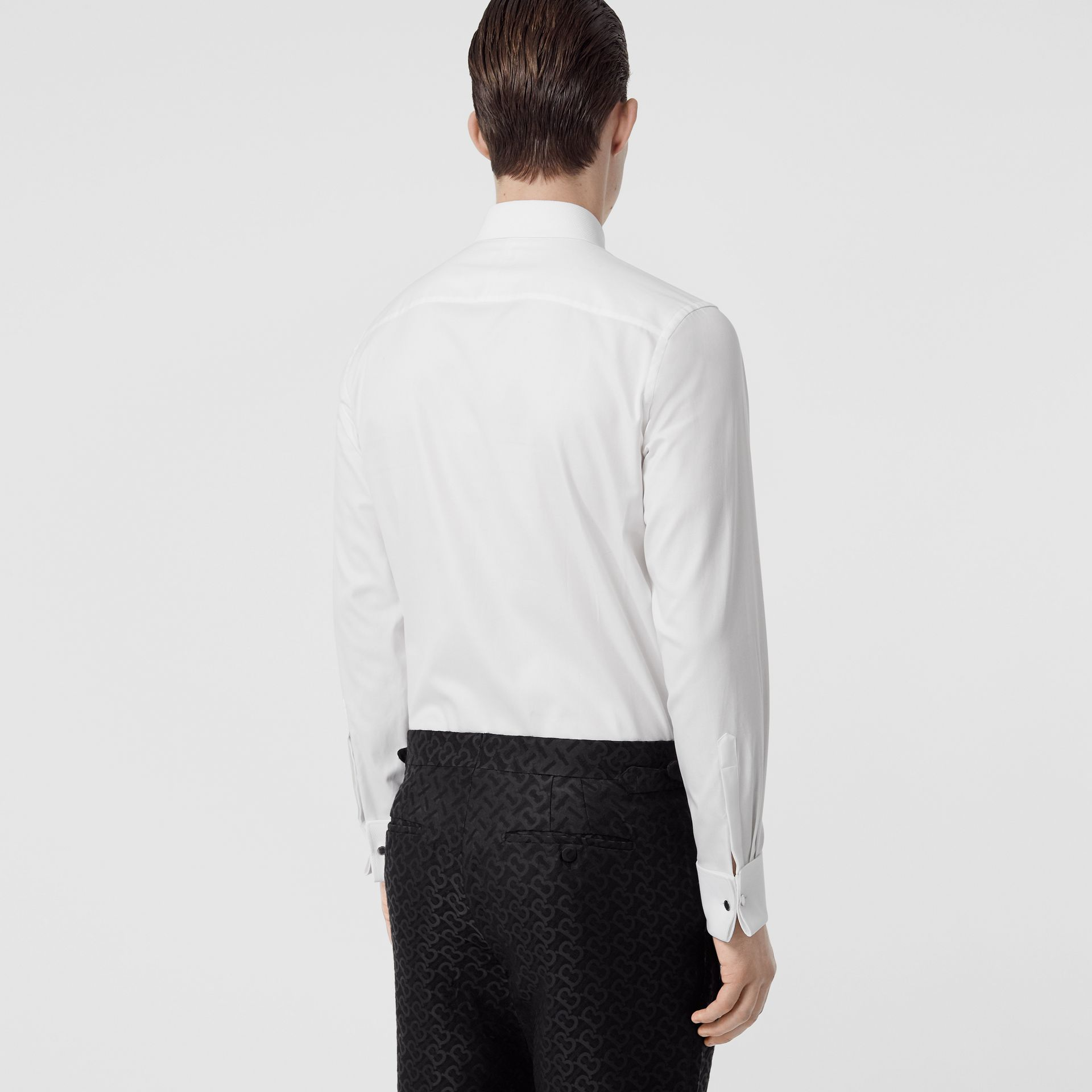Panelled Bib Cotton Oxford Dress Shirt in White - Men | Burberry - gallery image 2