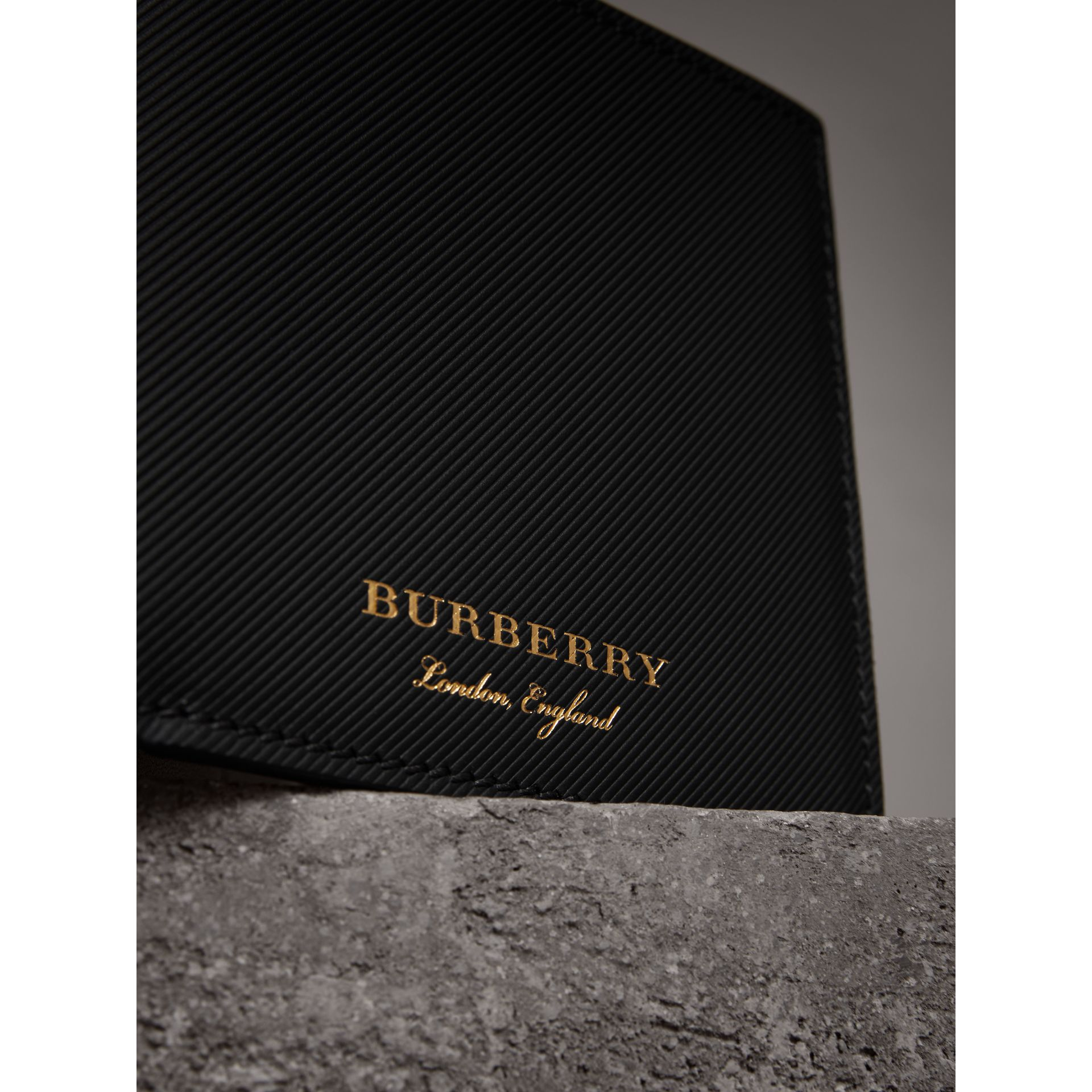 Trench Leather International Bifold Wallet in Black - Men | Burberry - gallery image 1