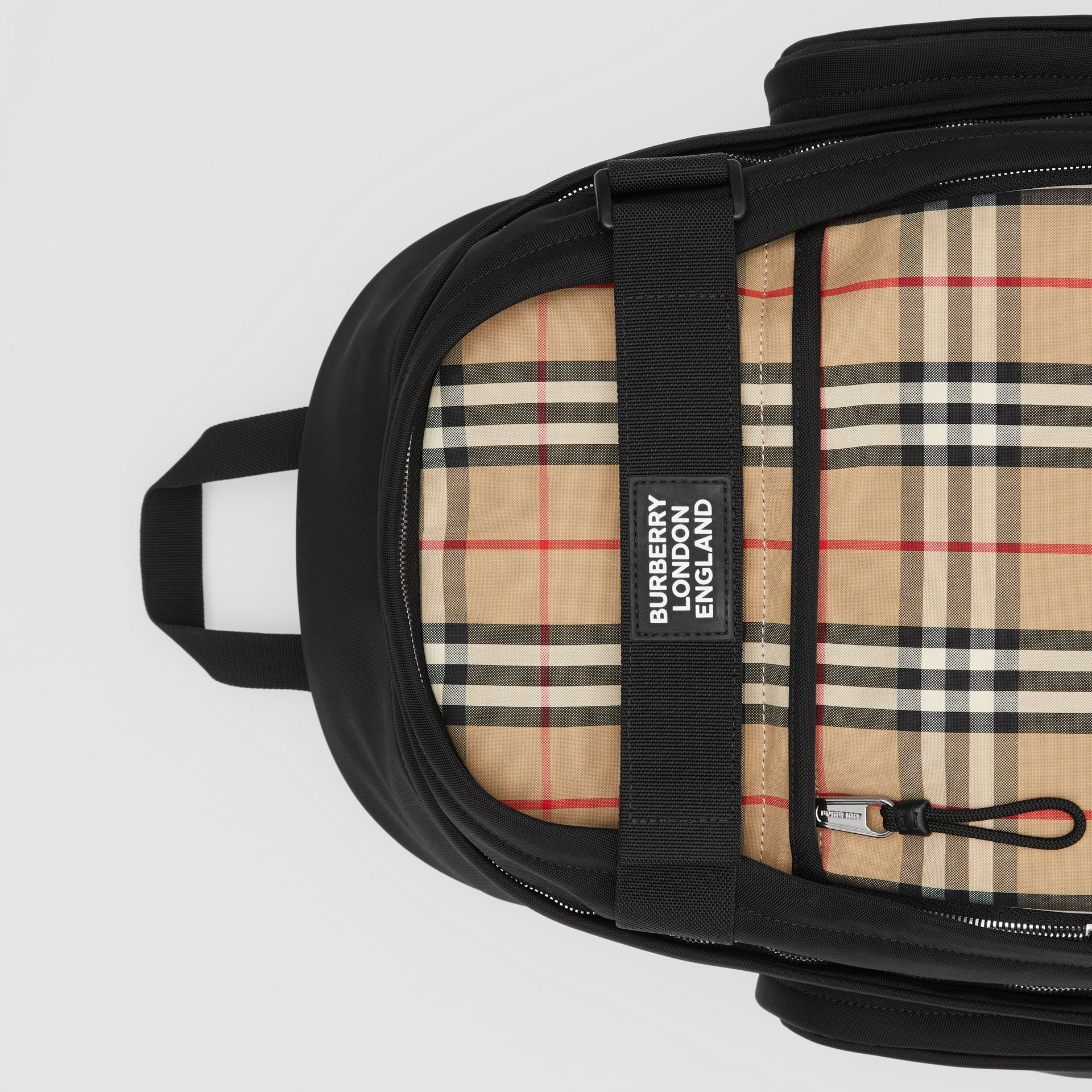 Large Vintage Check Panel Nevis Backpack in Archive Beige | Burberry Canada - gallery image 1