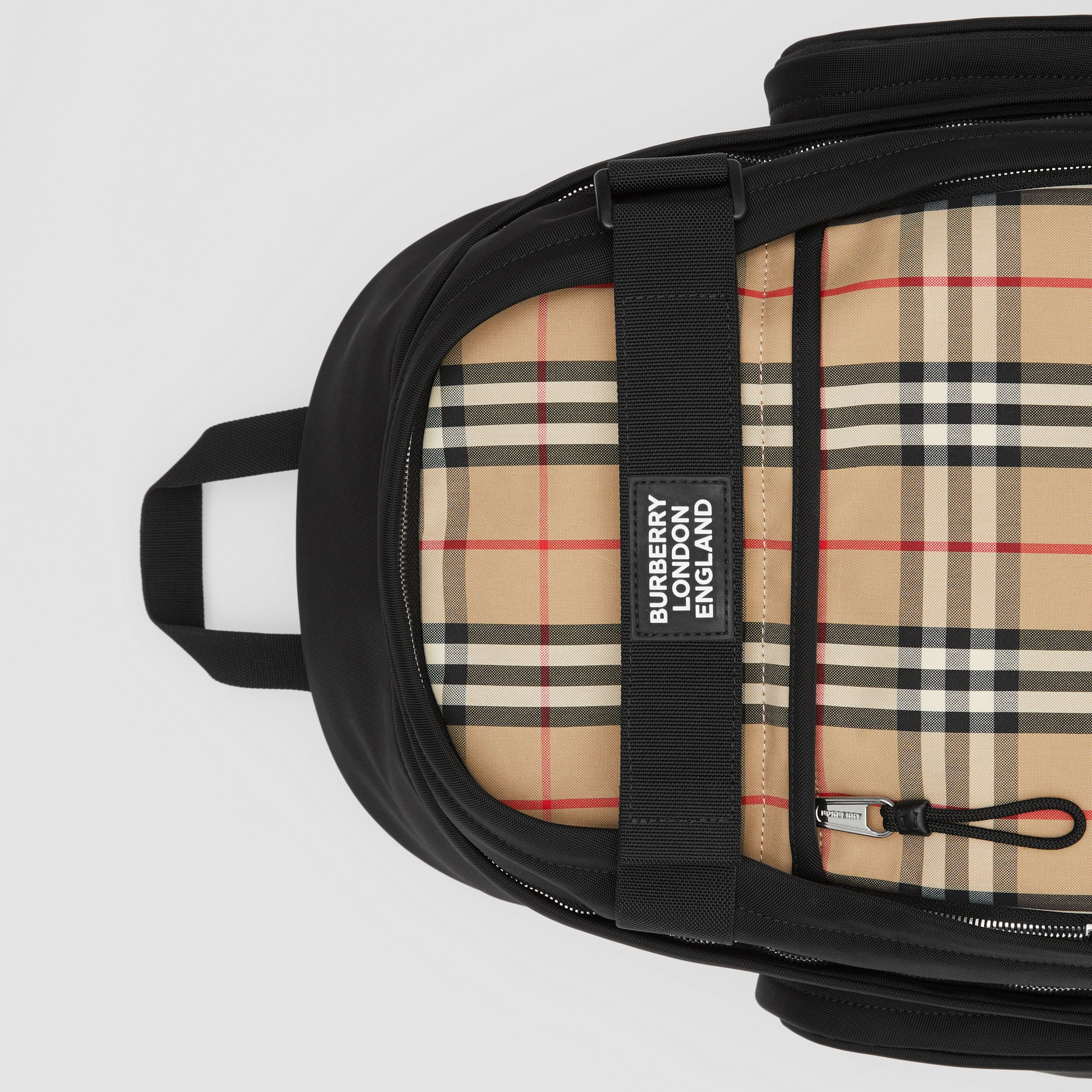 Large Vintage Check Panel Nevis Backpack in Archive Beige | Burberry - 2