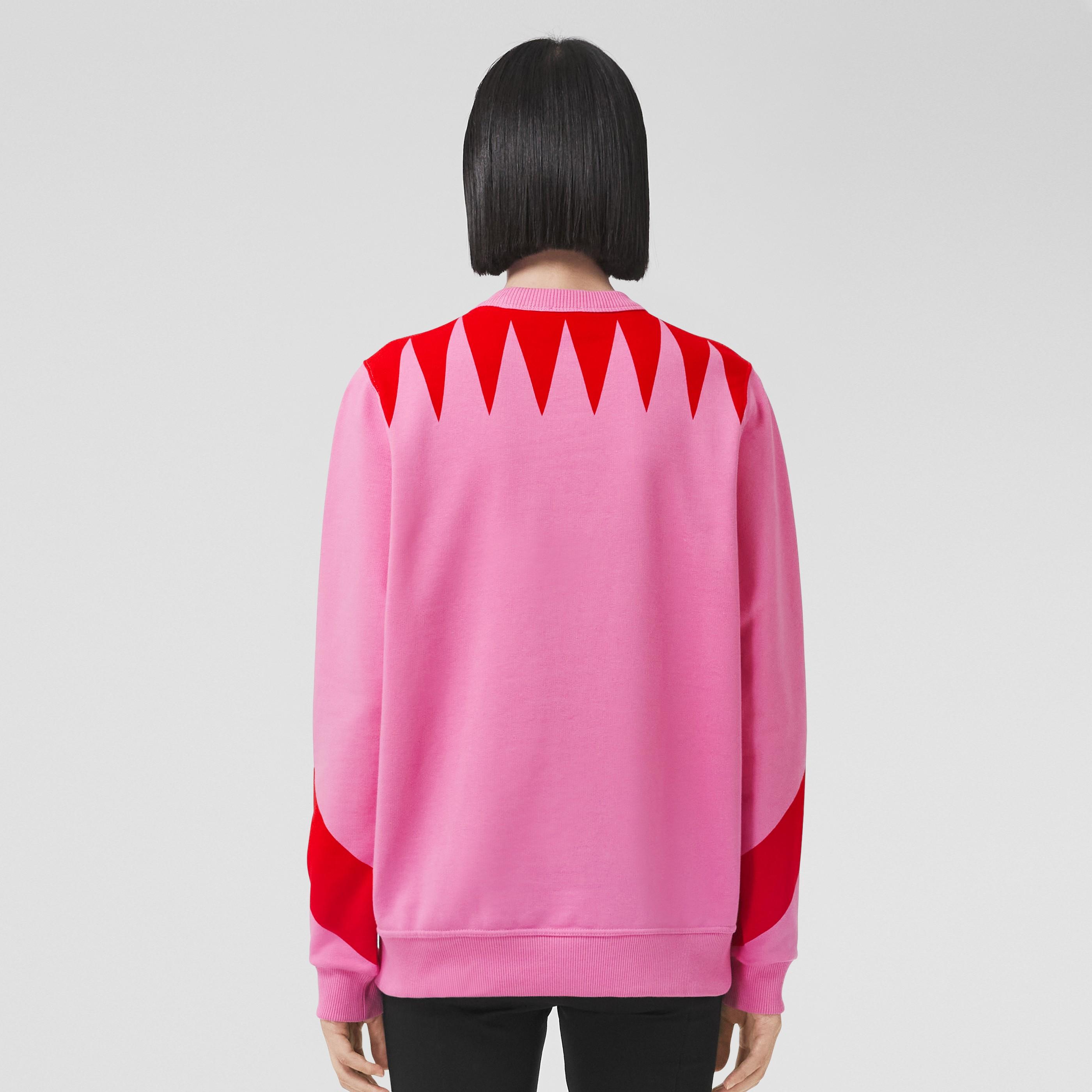 Felpa oversize in cotone con stampa geometrica (Rosa Primula) - Donna | Burberry - 3