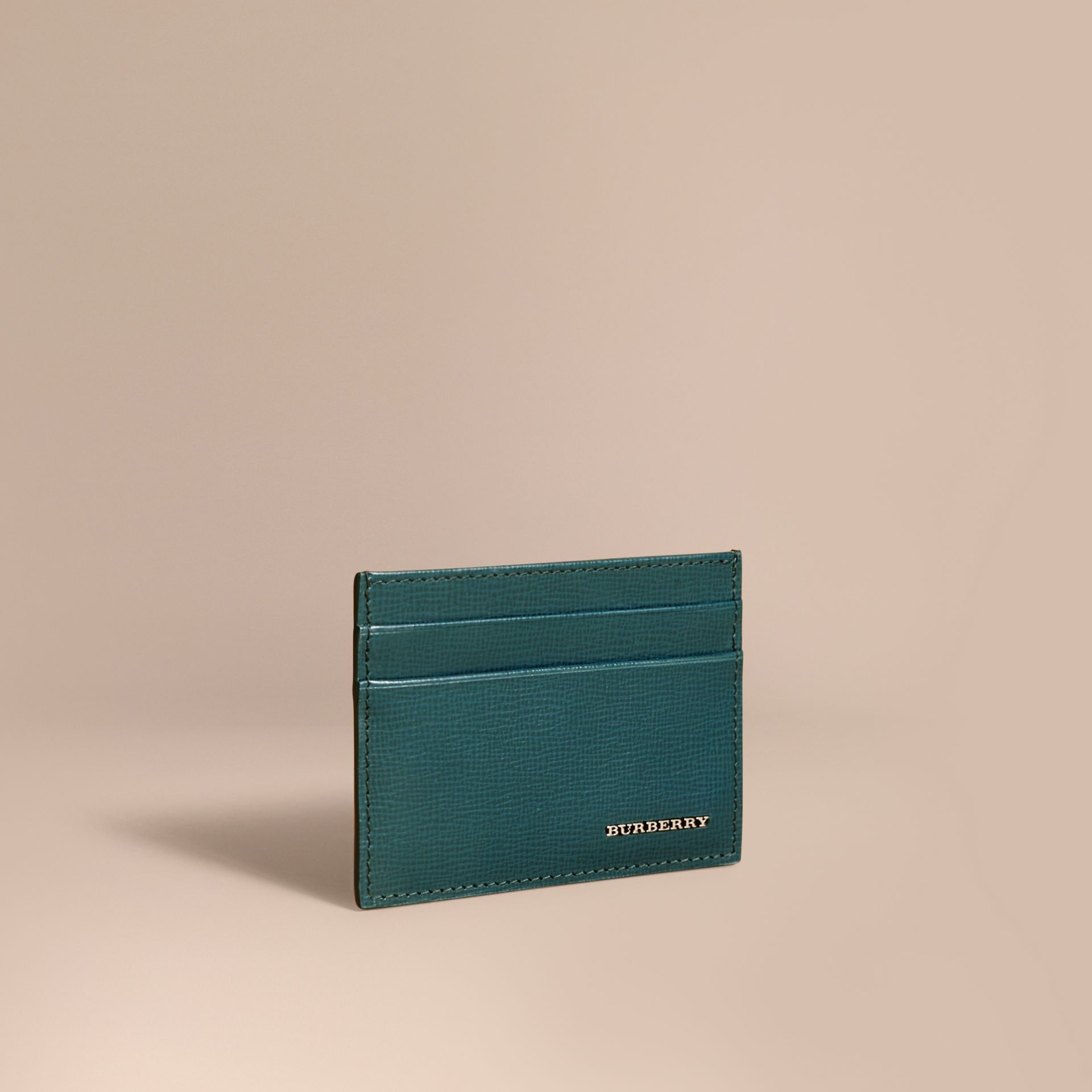London Leather Card Case in Dark Teal | Burberry United Kingdom - gallery image 1