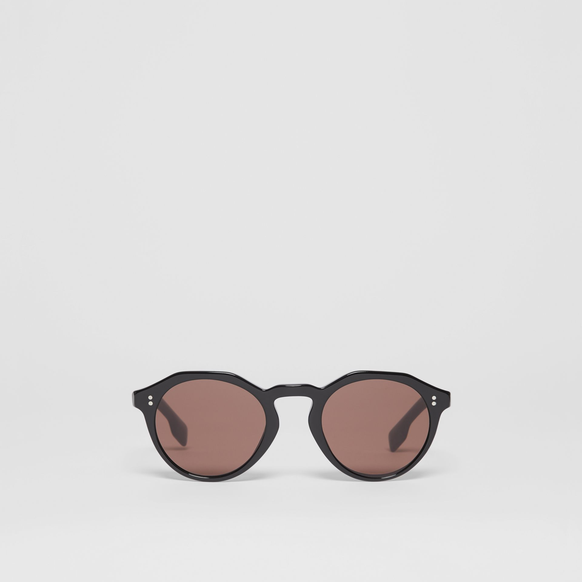 Keyhole Round Frame Sunglasses in Black - Men | Burberry - gallery image 0