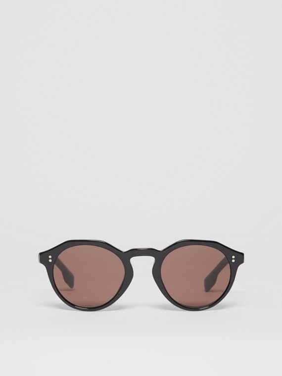 Keyhole Round Frame Sunglasses in Black