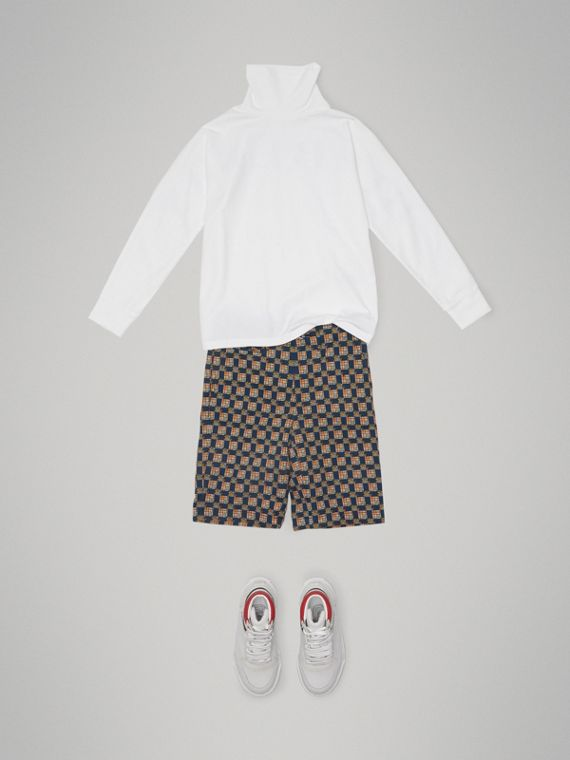 Tiled Archive Print Cotton Shorts in Navy - Boy | Burberry - cell image 2