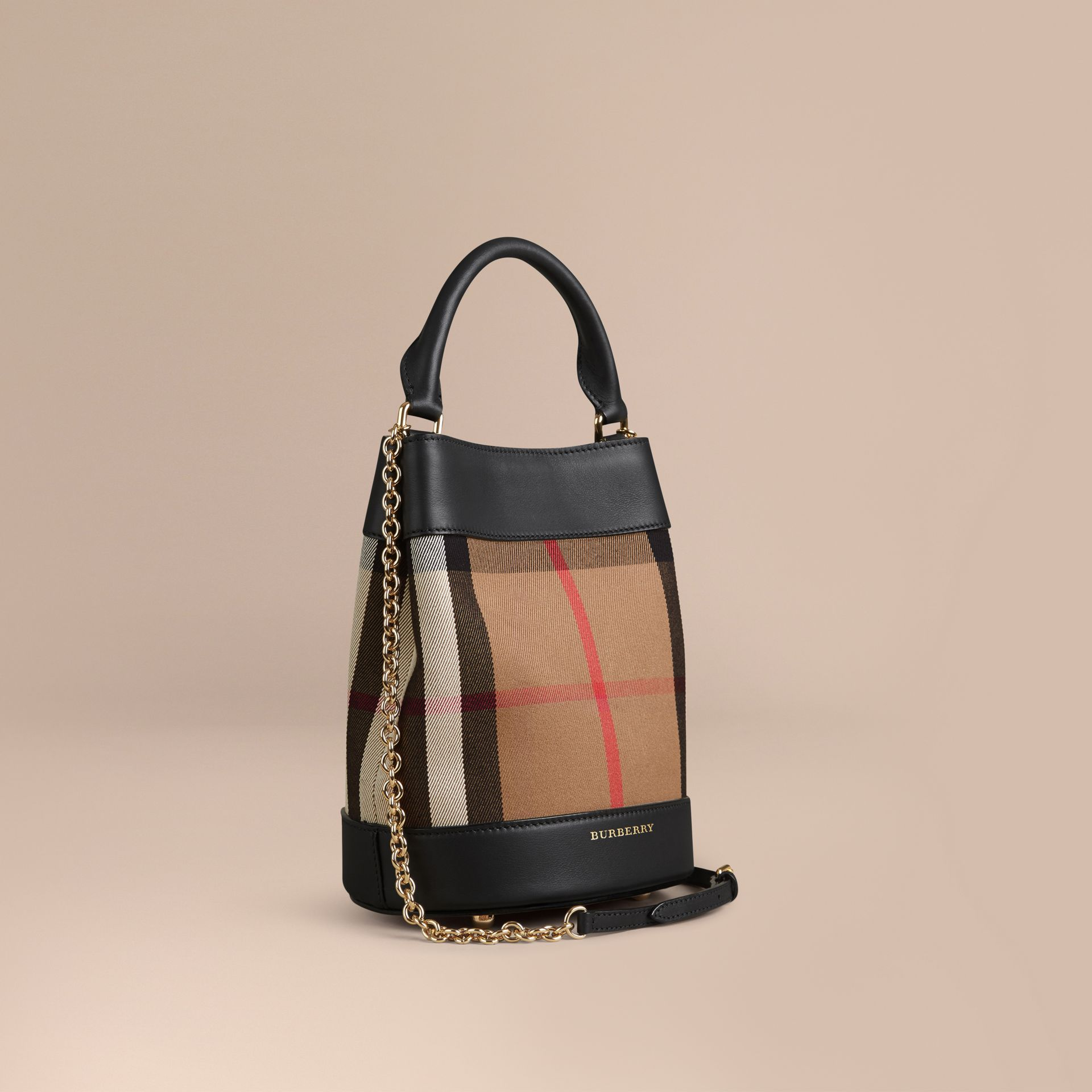 Noir Petit sac Burberry Bucket en coton House check et cuir - photo de la galerie 1