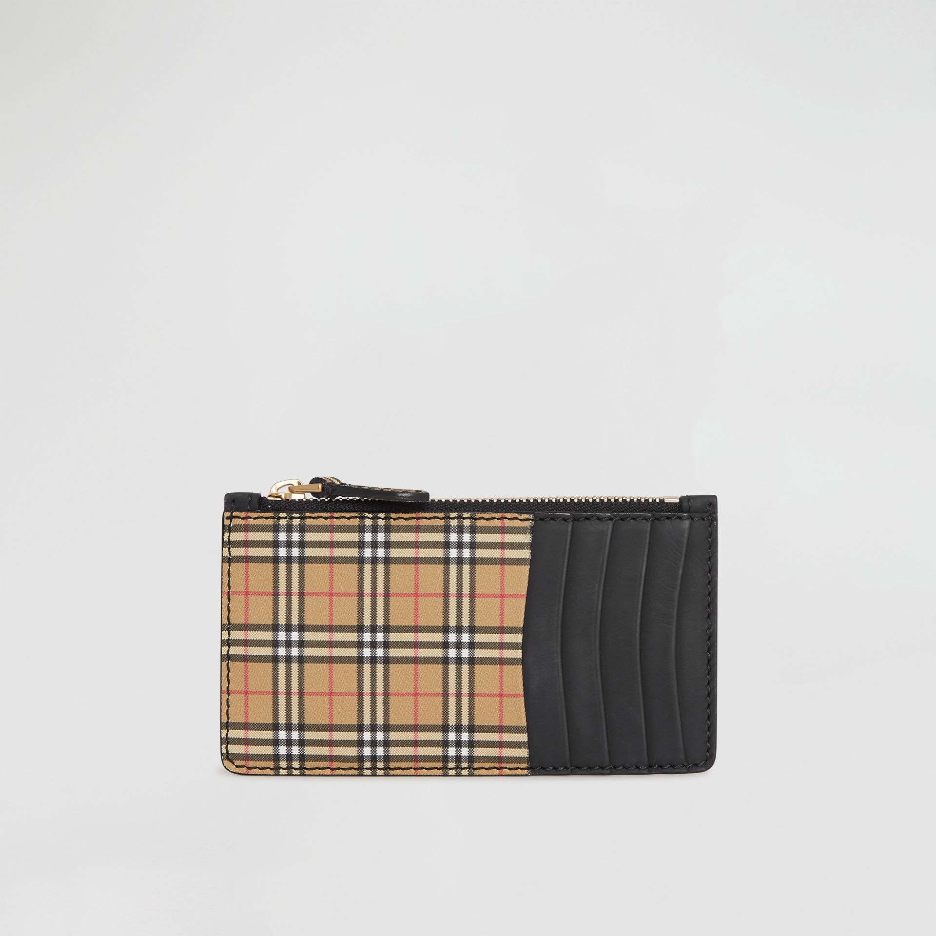 Small Scale Check and Suede Card Case in Black - Women | Burberry Canada - gallery image 0