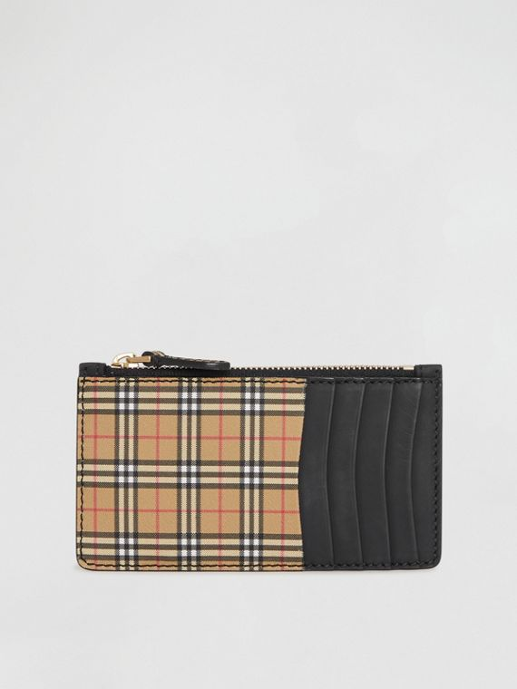 Small Scale Check and Suede Card Case in Black