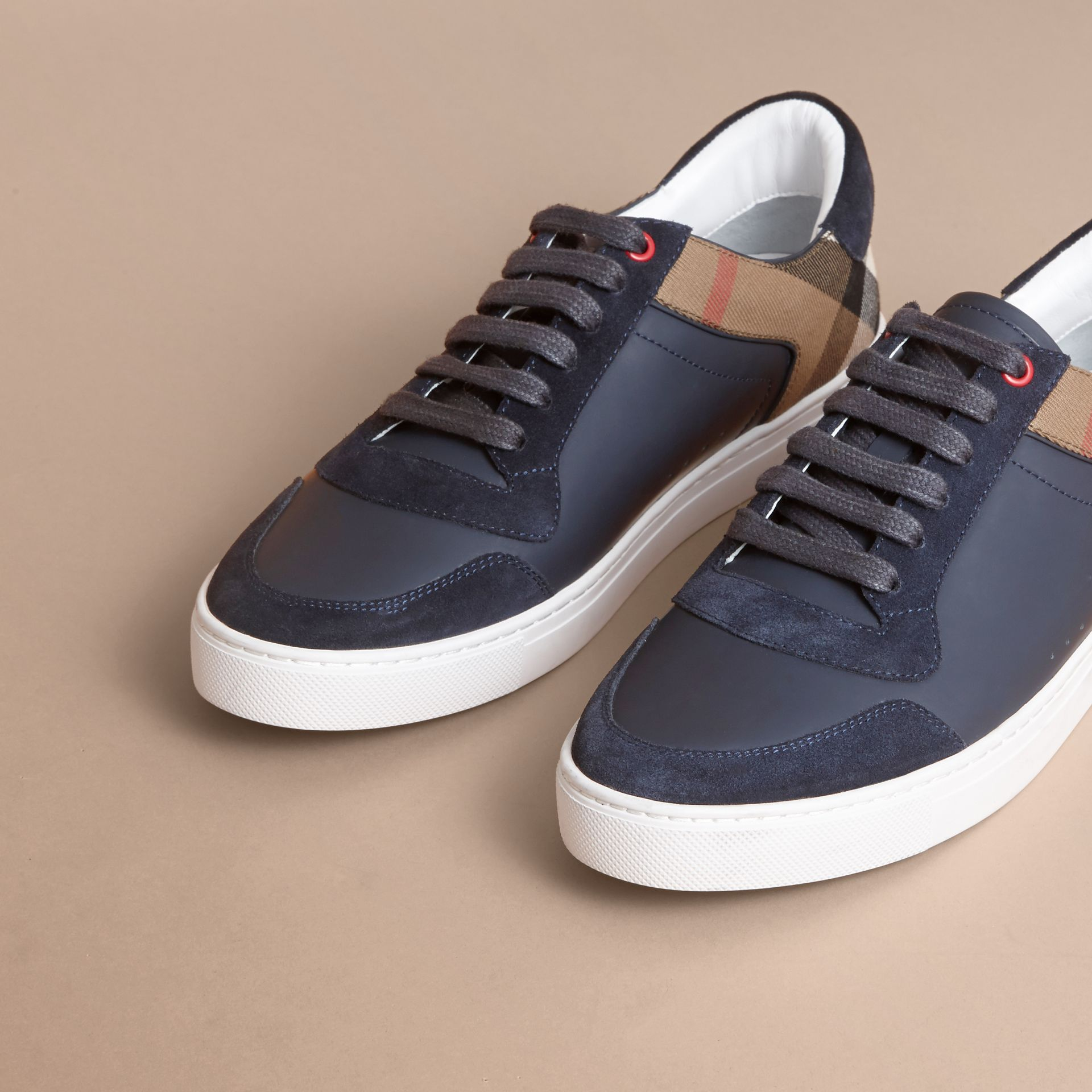 Leather and House Check Trainers in Navy - Men | Burberry - gallery image 4