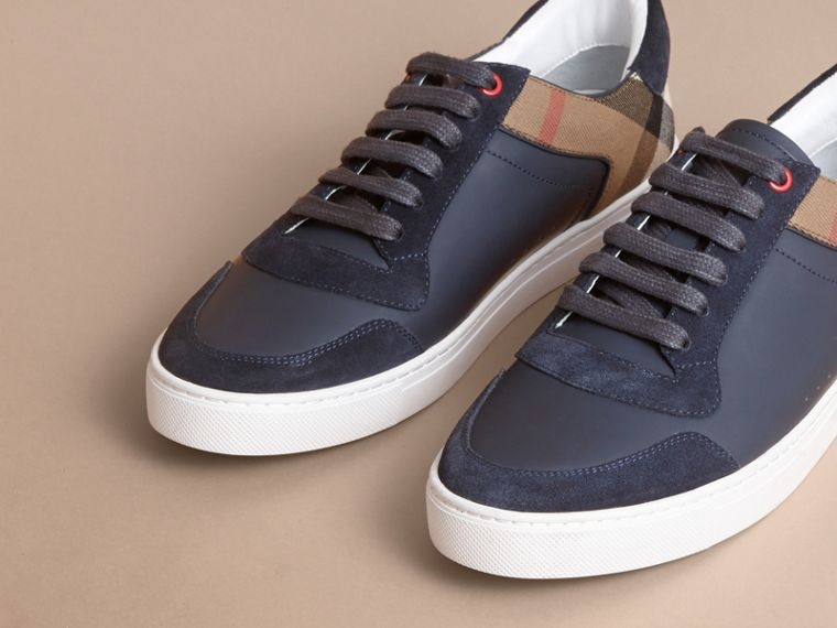 Leather and House Check Trainers in Navy - Men | Burberry - cell image 4