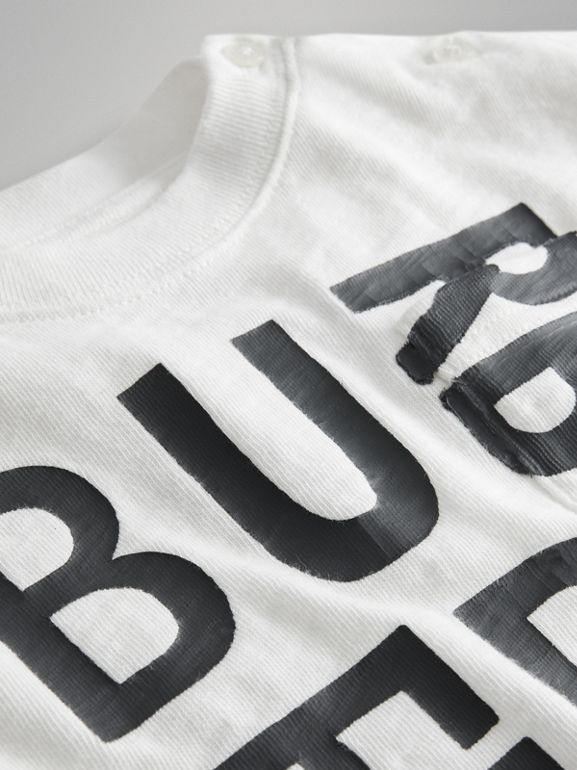 Logo Print Cotton T-shirt in White - Children | Burberry Canada - cell image 1