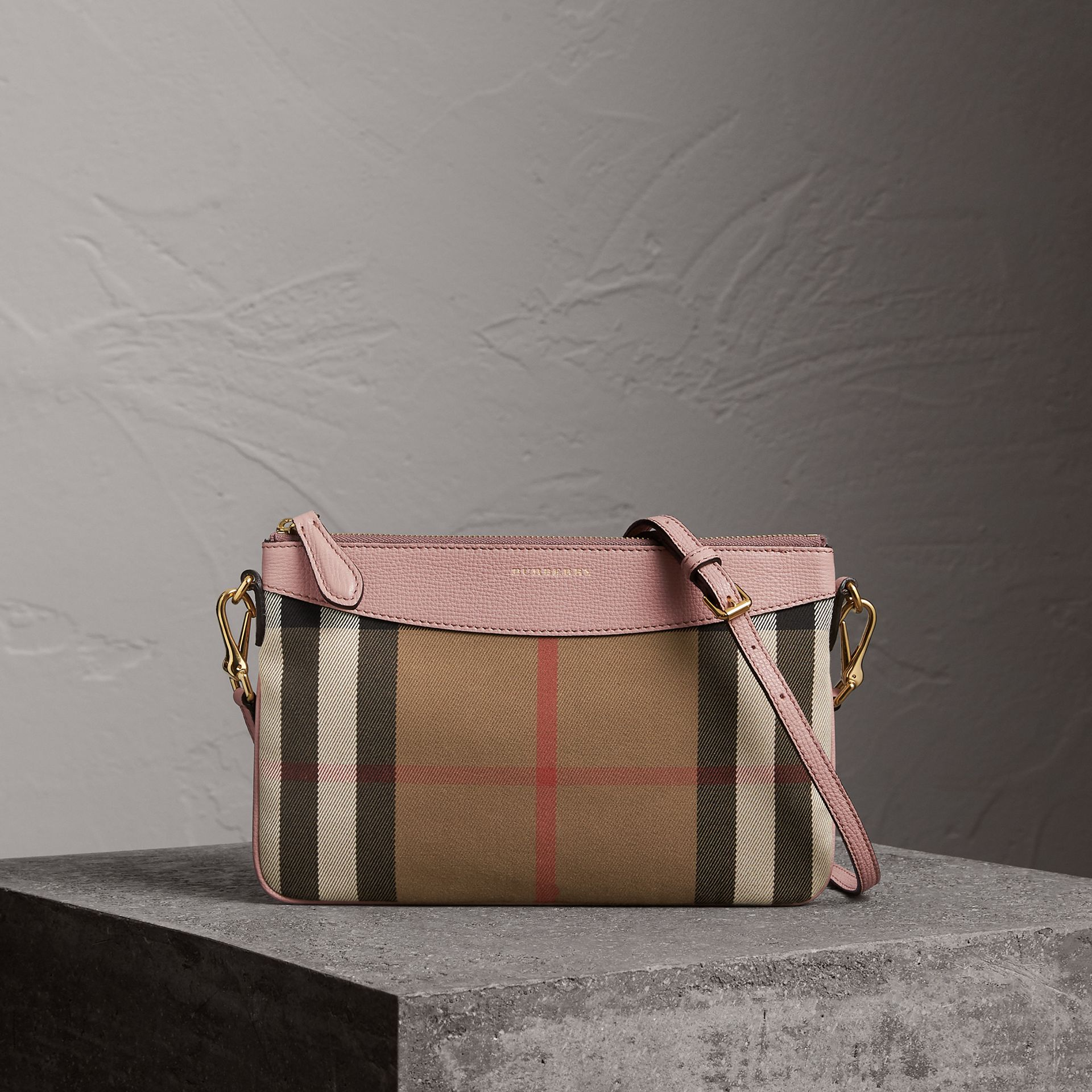House Check and Leather Clutch Bag in Pale Orchid - Women | Burberry United States - gallery image 0