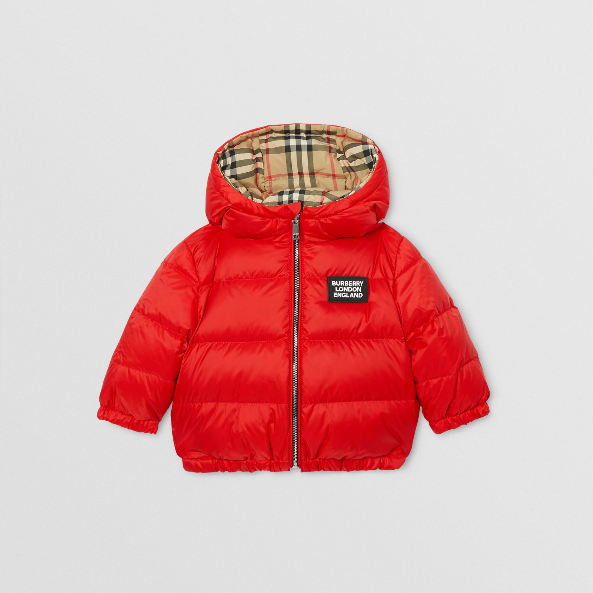 Reversible Vintage Check Down-filled Puffer Jacket in Bright Red - Children | Burberry - gallery image 0