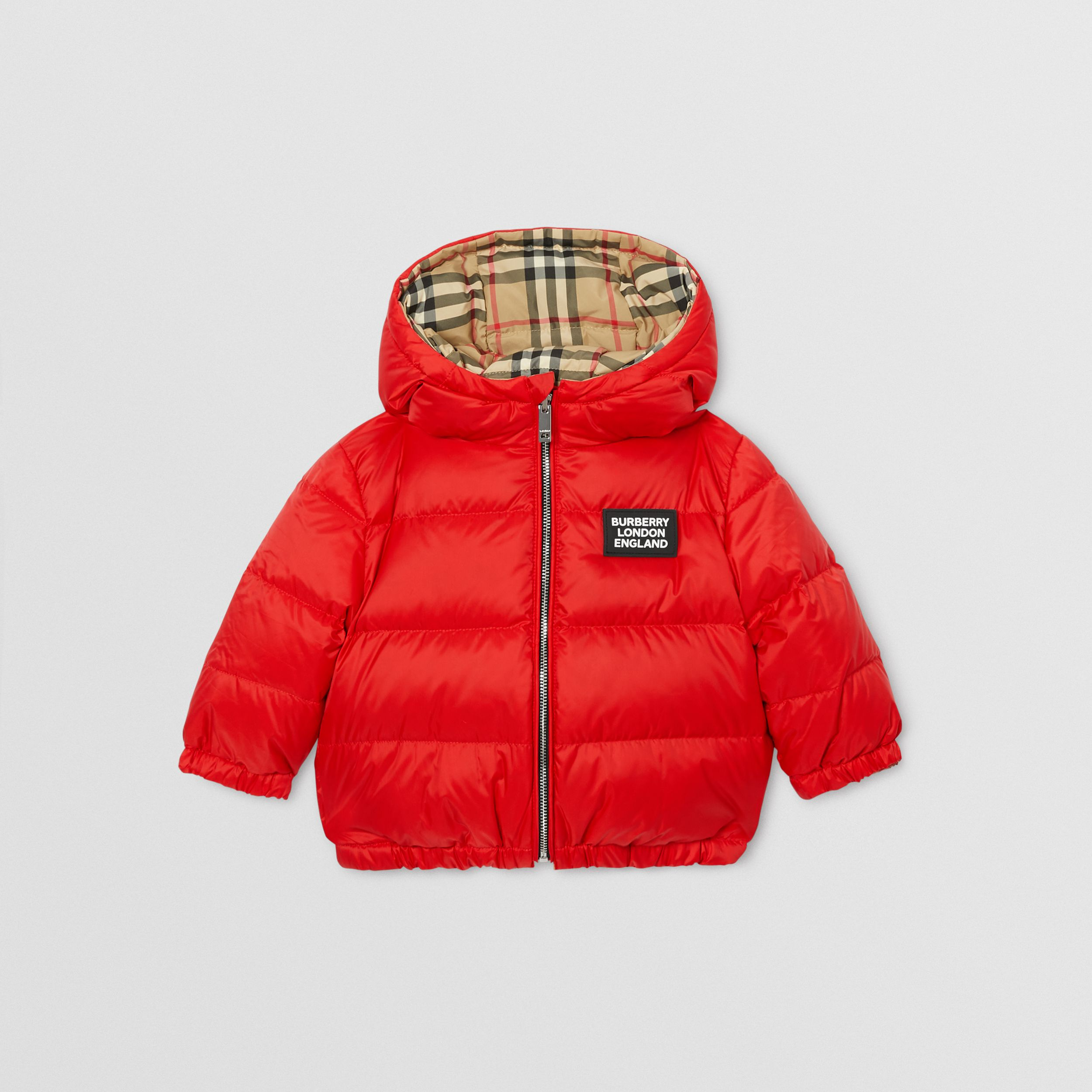 Reversible Vintage Check Down-filled Puffer Jacket in Bright Red - Children | Burberry - 1