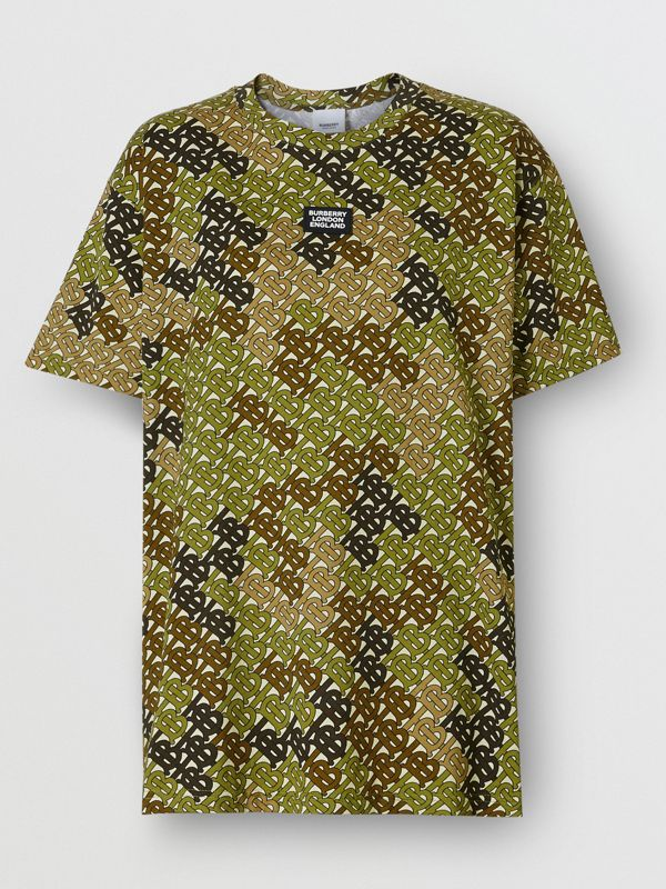 Logo Detail Monogram Print Cotton Oversized T-shirt in Khaki Green - Women | Burberry - cell image 3