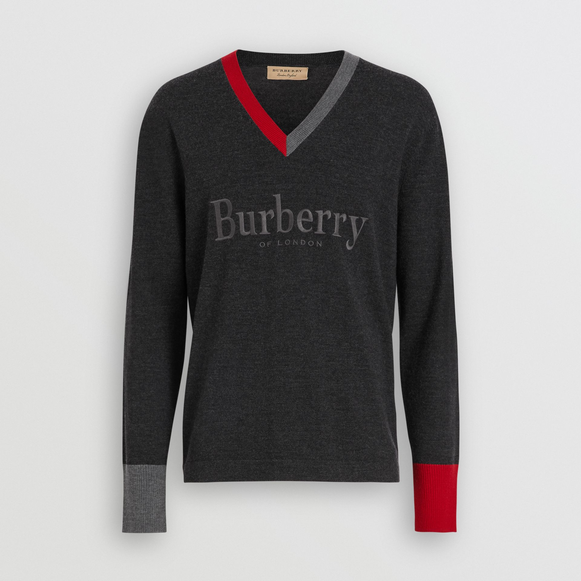 Embroidered Logo Merino Wool V-neck Sweater in Charcoal - Men | Burberry Singapore - gallery image 3