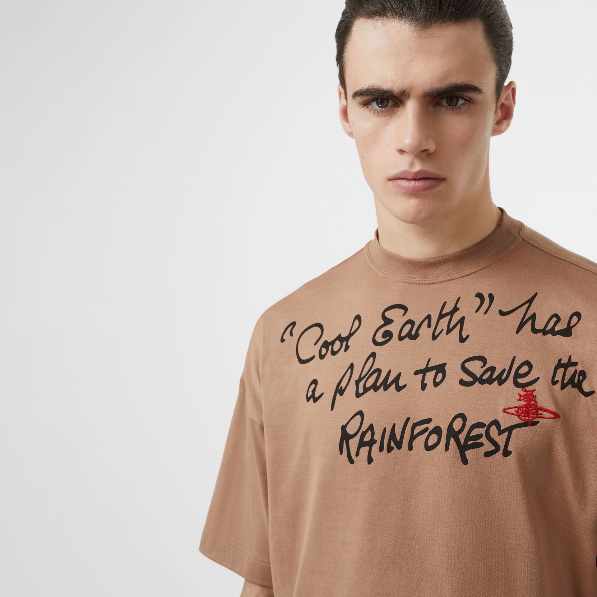 Slogan Print Cotton Oversized T-shirt in Antique Pink | Burberry Australia - gallery image 6