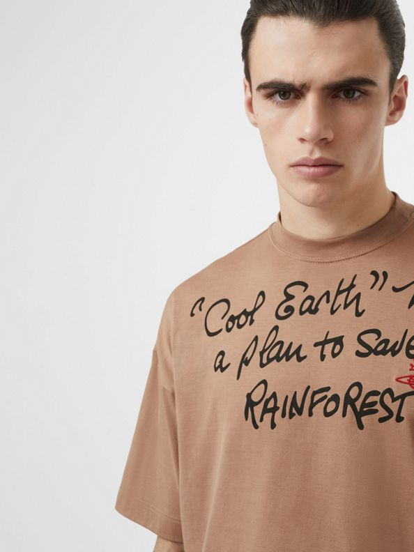 Slogan Print Cotton Oversized T-shirt in Antique Pink