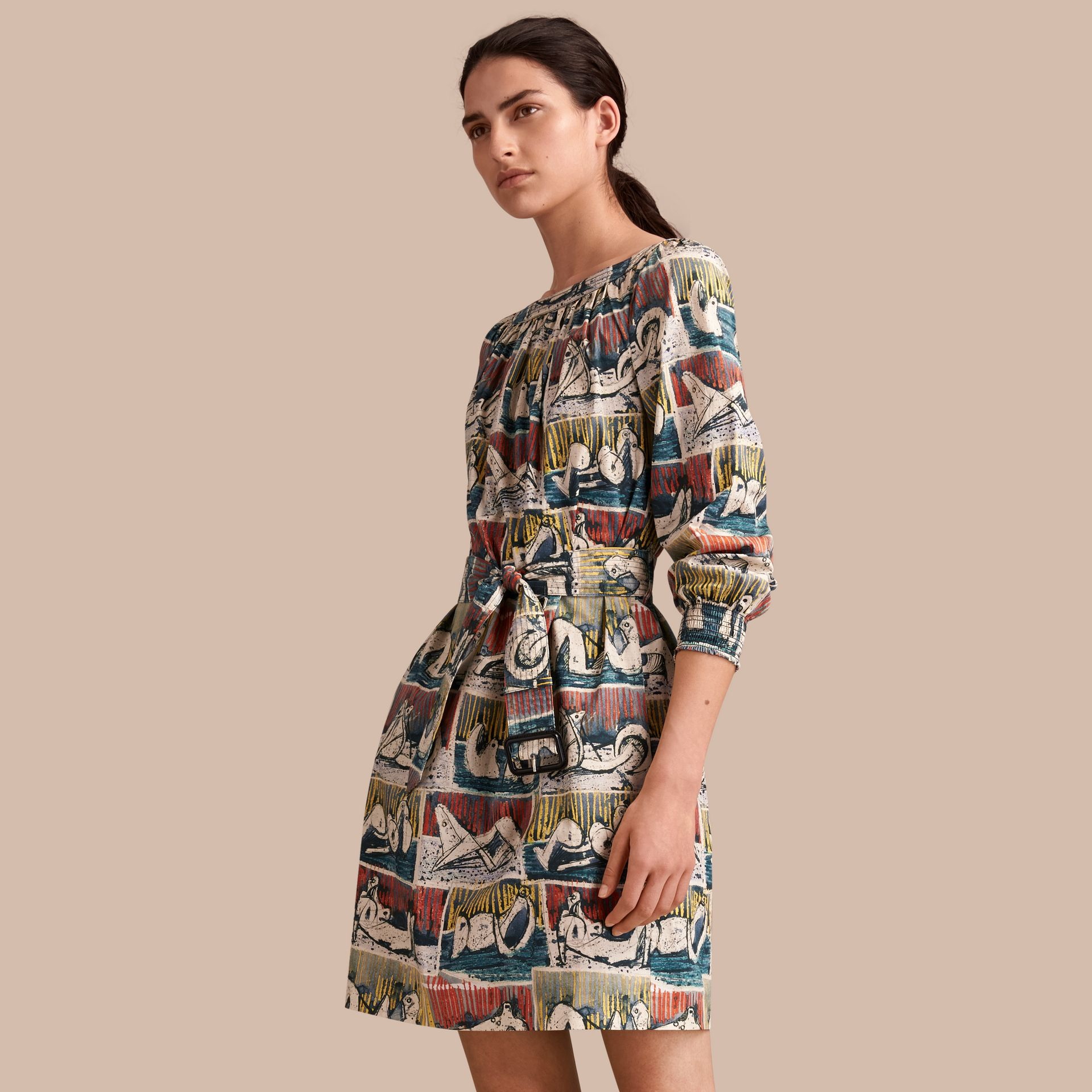 Reclining Figures Print Cotton Tunic Dress in Stone Blue - Women | Burberry - gallery image 1