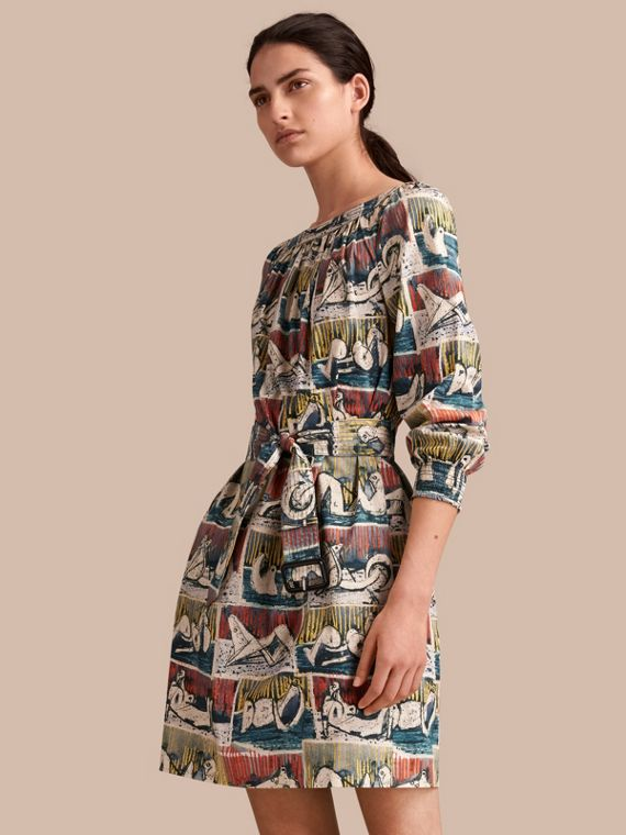 Reclining Figures Print Cotton Tunic Dress