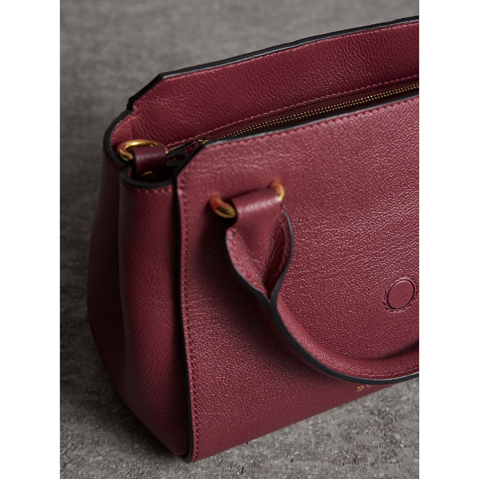 The Small Buckle Tote in Grainy Leather in Dark Plum - Women | Burberry United Kingdom - gallery image 5