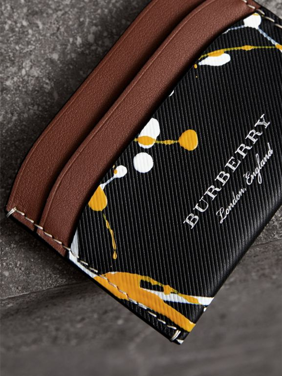 Splash Trench Leather Card Case in Black/tan | Burberry - cell image 1