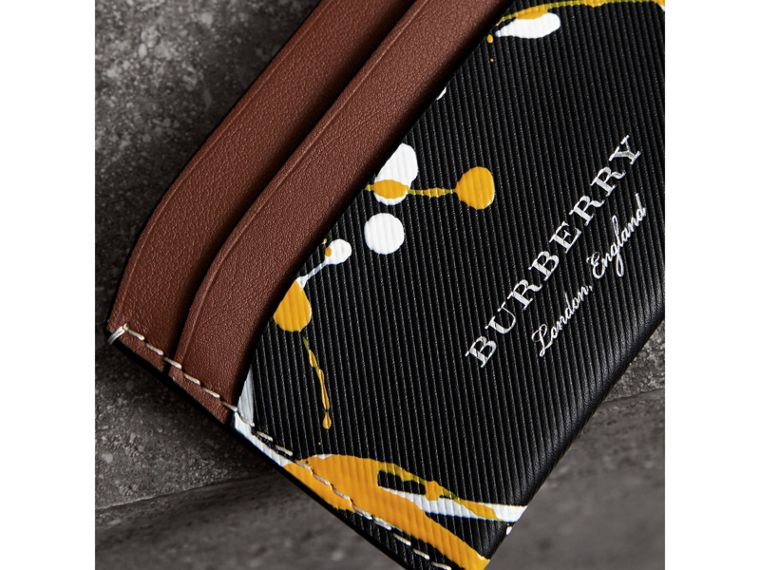Splash Trench Leather Card Case in Black/tan - Women | Burberry - cell image 1
