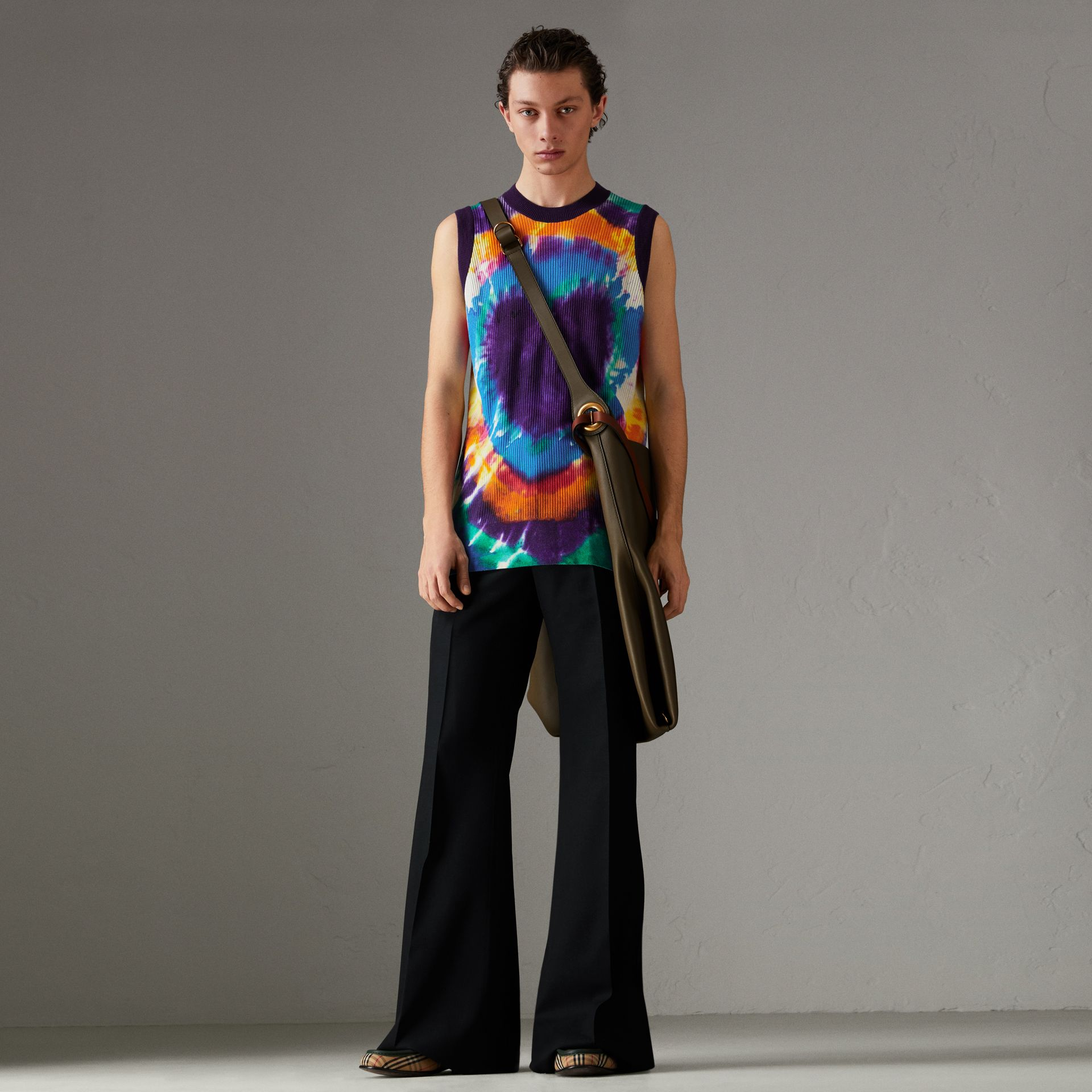 Tie-dye Print Cashmere Vest in Multicolour | Burberry Singapore - gallery image 0