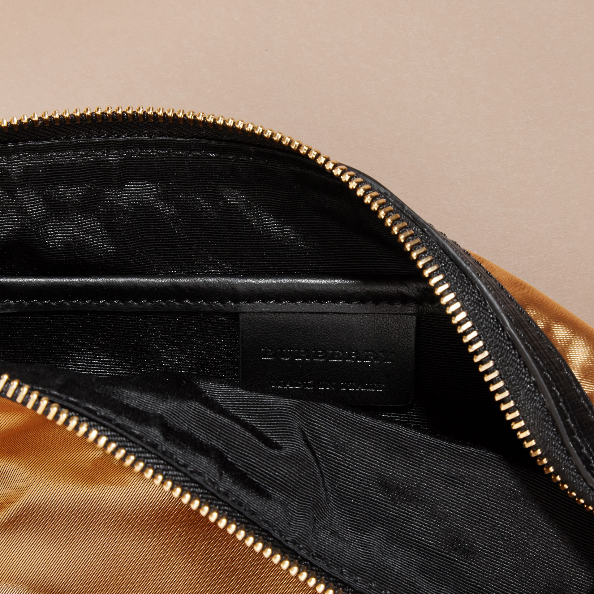 Large Zip-top Leather-trimmed Technical Nylon Pouch - Women | Burberry - gallery image 5