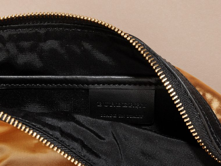 Large Zip-top Leather-trimmed Technical Nylon Pouch - Women | Burberry - cell image 4