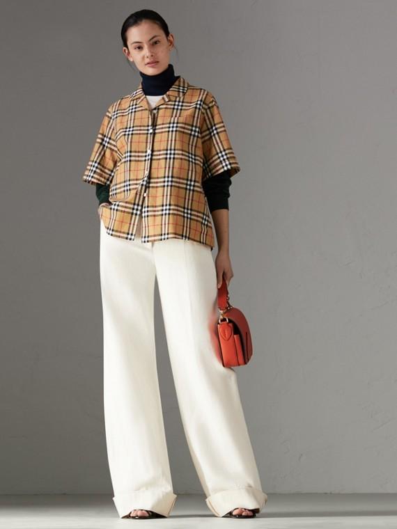 Chemise à manches courtes avec motif Vintage check (Jaune Antique)