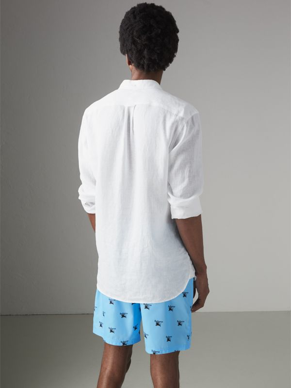 Archive Logo Drawcord Swim Shorts in Sky Blue - Men | Burberry - cell image 2