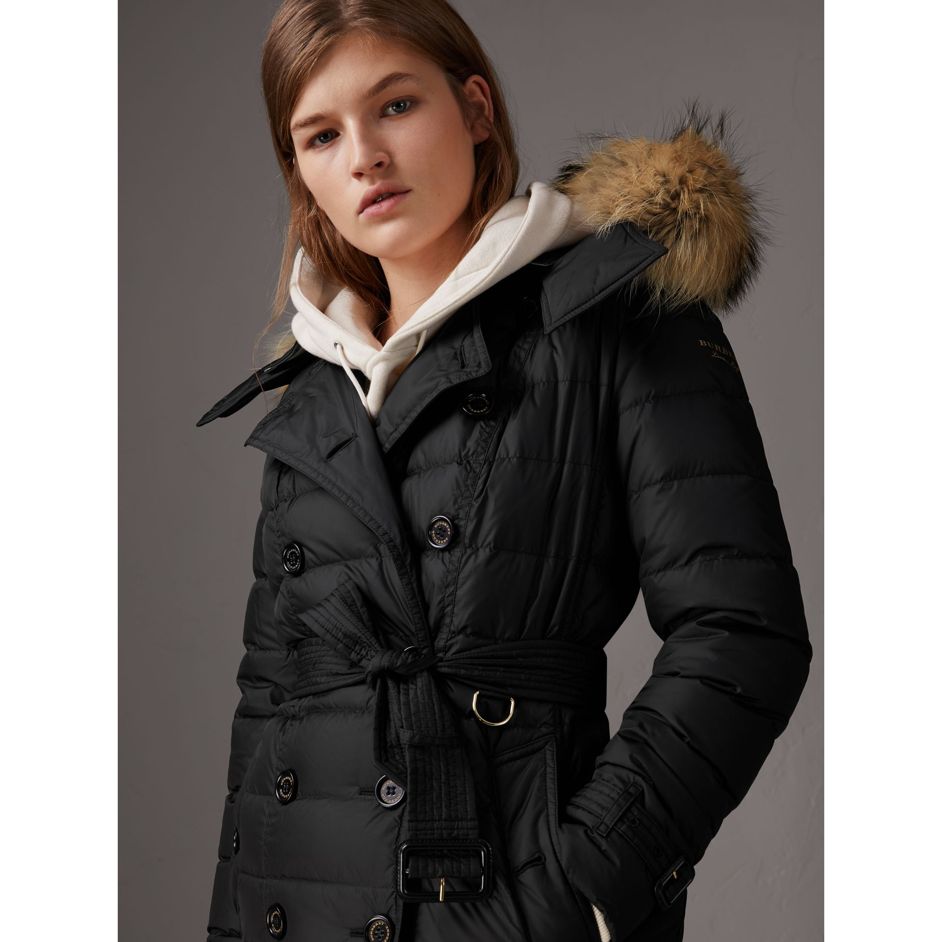Detachable Hood Fur Trim Down-filled Puffer Coat in Black - Women | Burberry - gallery image 4