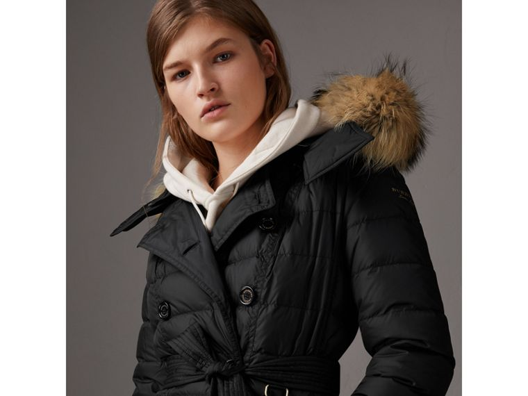 Detachable Hood Fur Trim Down-filled Puffer Coat in Black - Women | Burberry Australia - cell image 4
