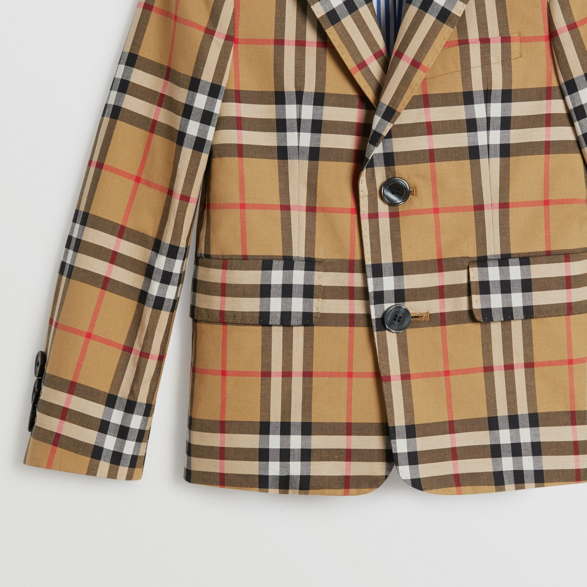 Vintage Check Cotton Blazer in Antique Yellow | Burberry - gallery image 3