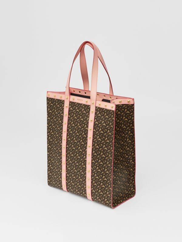 Monogram Print E-canvas Portrait Tote Bag in Cloud Pink | Burberry - cell image 2