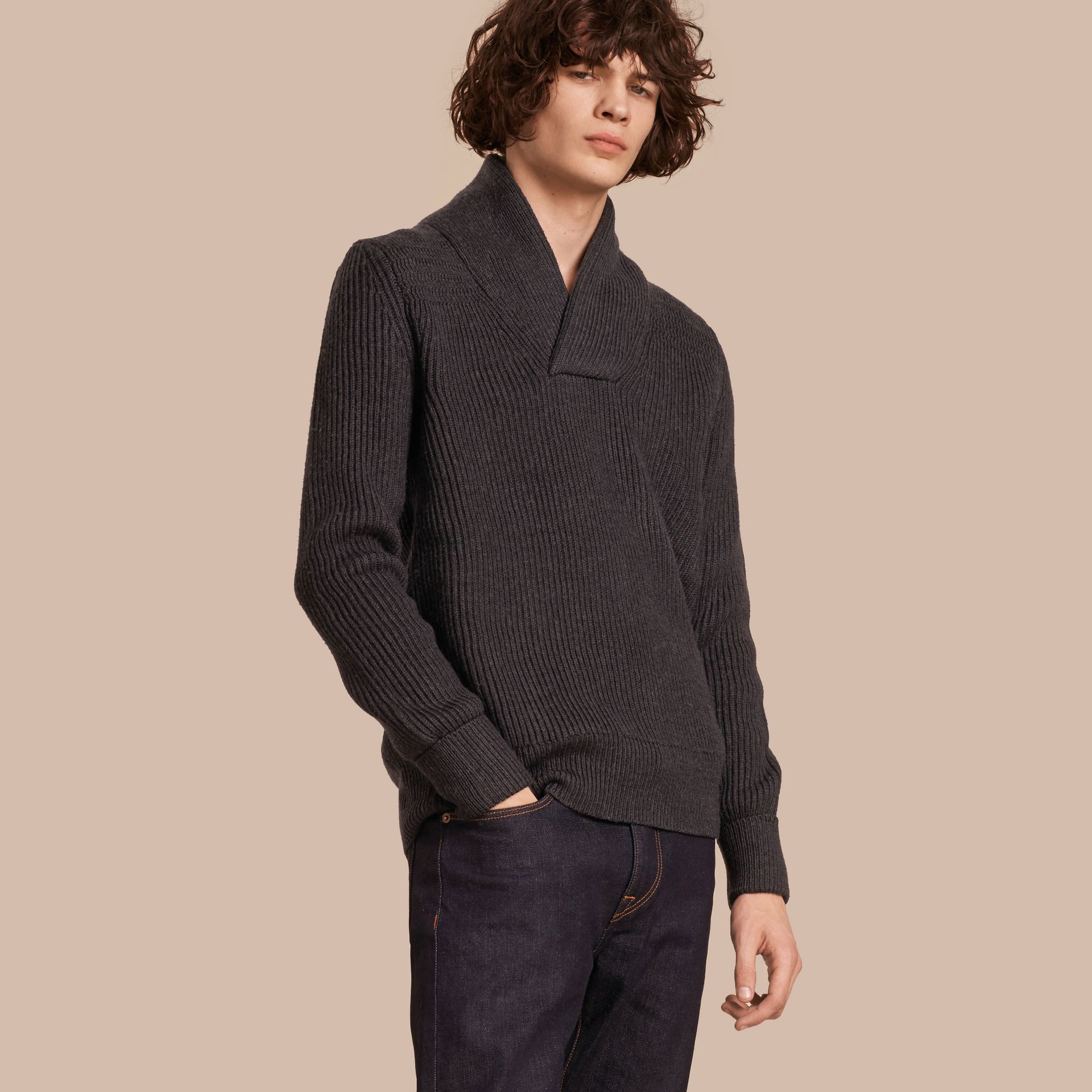 Charcoal Shawl Collar Ribbed Wool Silk Sweater - gallery image 1