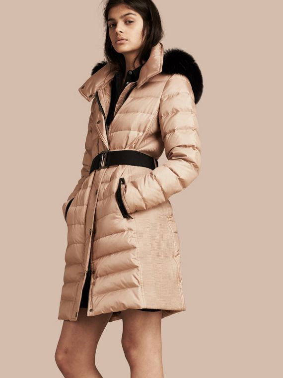 Down-filled Coat with Detachable Fur-trimmed Hood