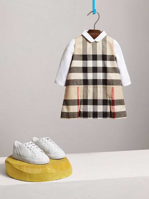 Pleated Washed Check Cotton A-line Dress in Stone | Burberry - cell image 2