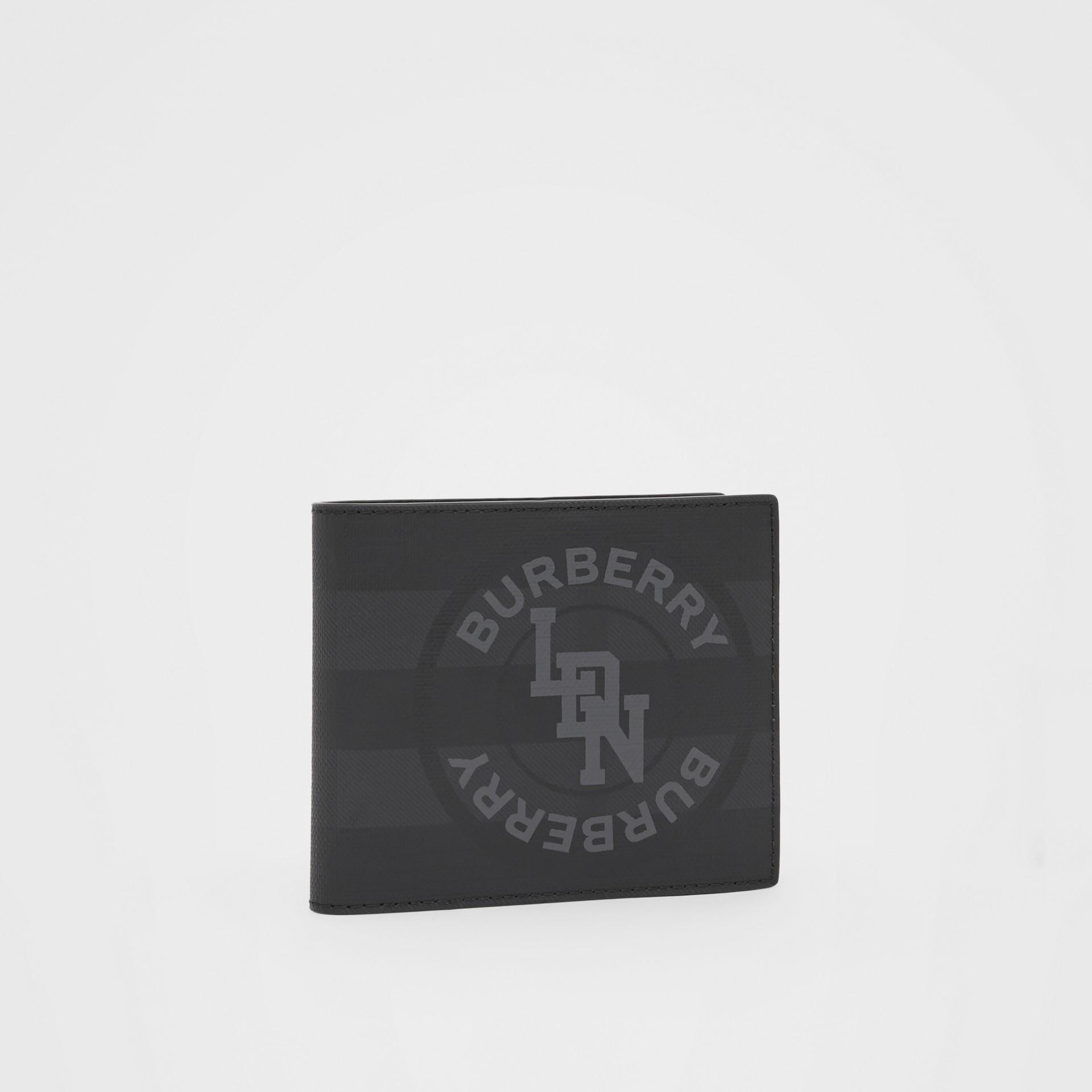 Portefeuille à rabat multidevise London check avec logo (Anthracite Sombre) - Homme | Burberry - photo de la galerie 3