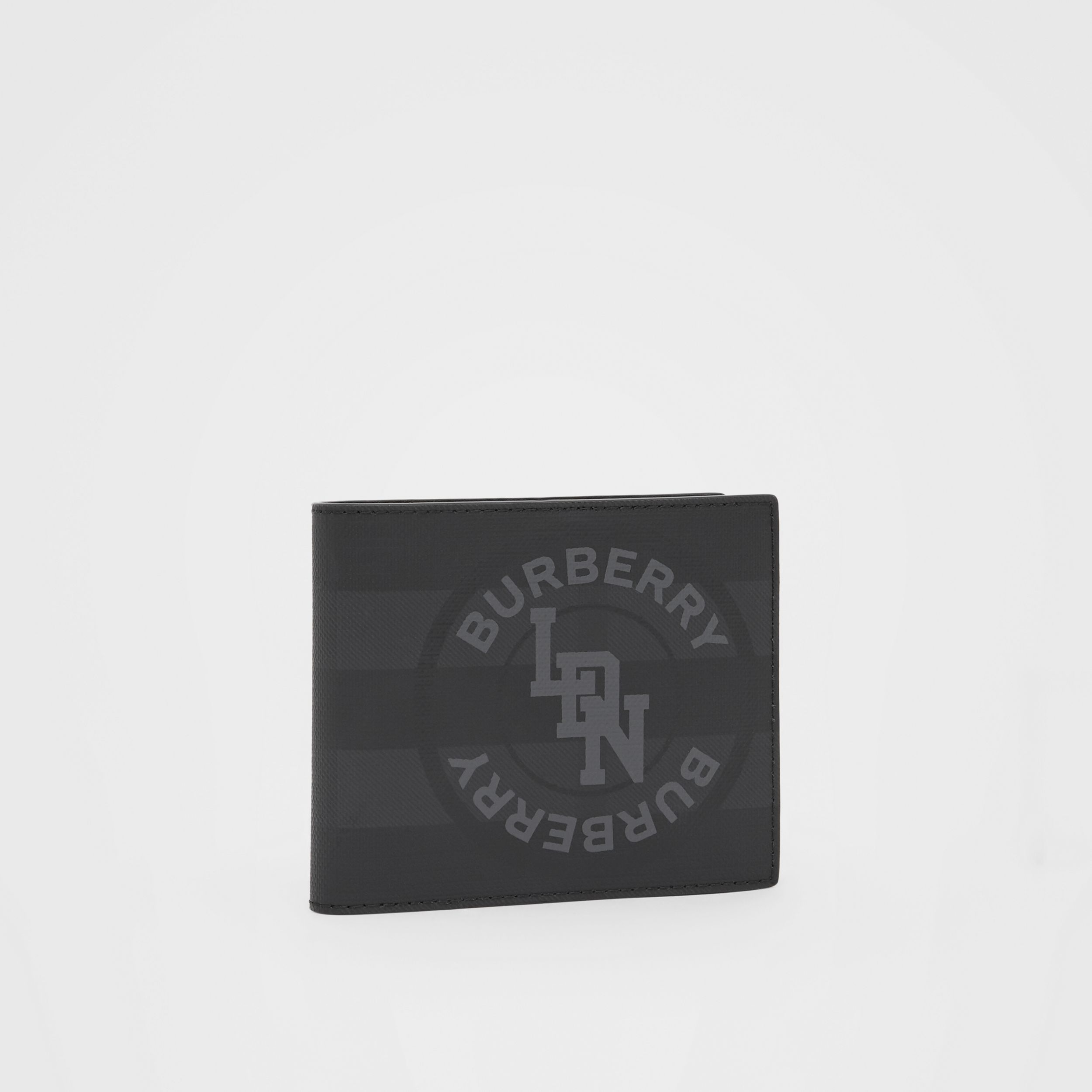 Logo Graphic London Check International Bifold Wallet in Dark Charcoal - Men | Burberry - 4