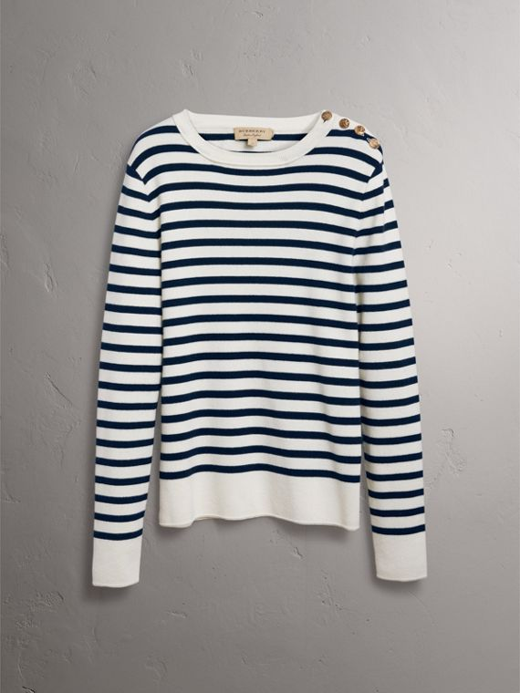 Bird Button Breton Stripe Wool Cashmere Sweater in Natural White