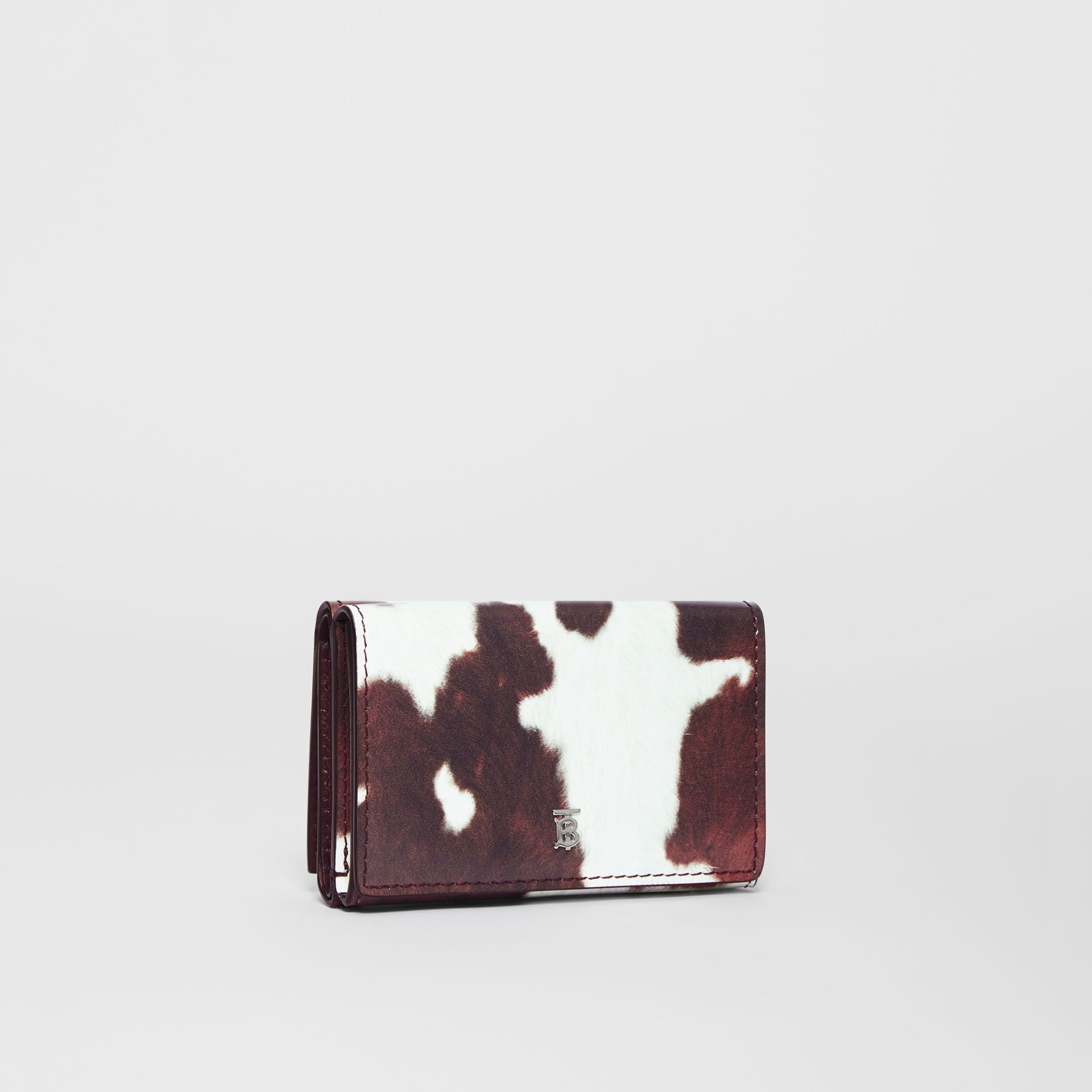 Small Cow Print Leather Folding Wallet in Malt Brown - Women | Burberry - gallery image 3