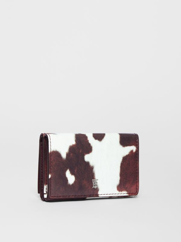 Small Cow Print Leather Folding Wallet in Malt Brown - Women | Burberry - cell image 3