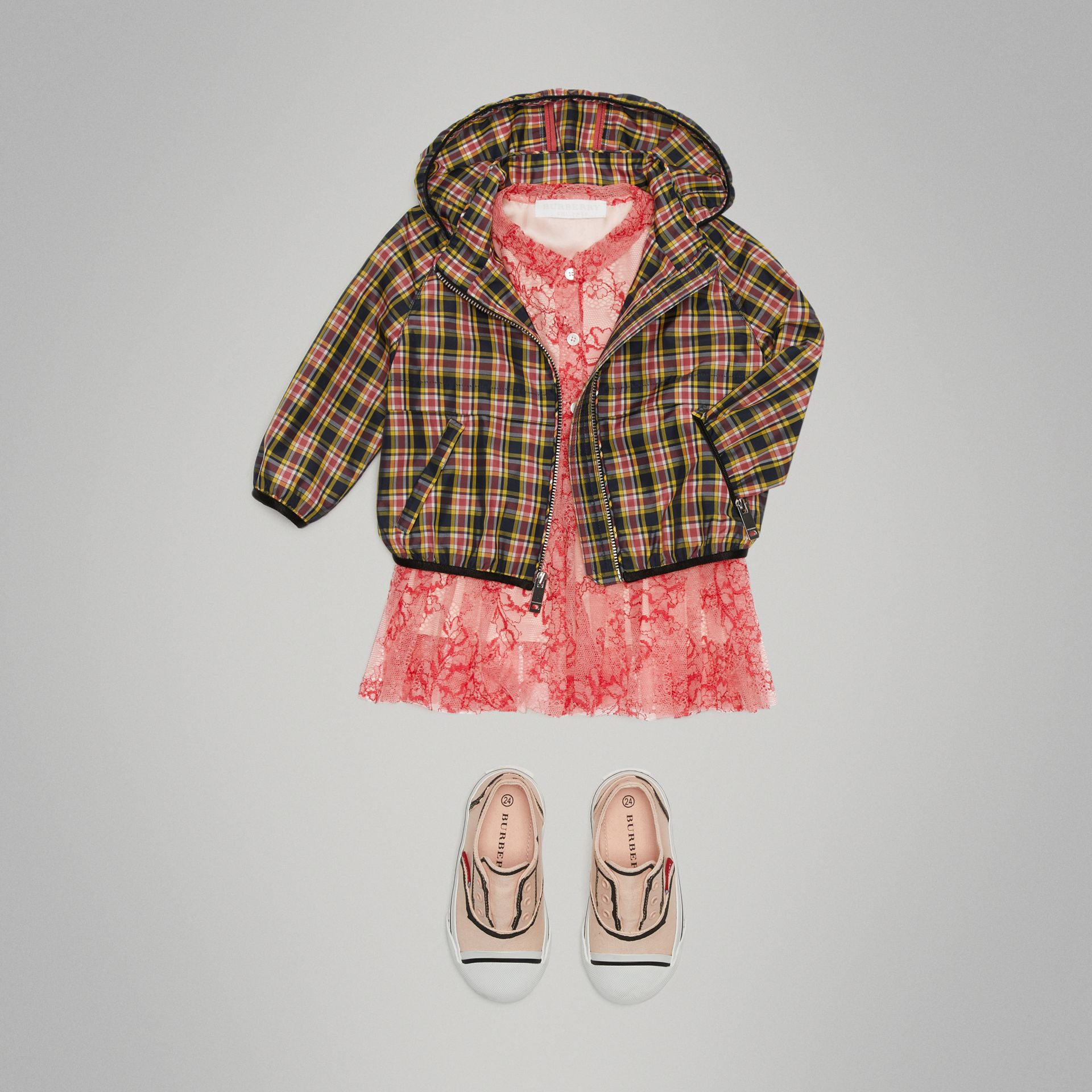 Check Hooded Bomber Jacket in Bright Coral Pink | Burberry - gallery image 0