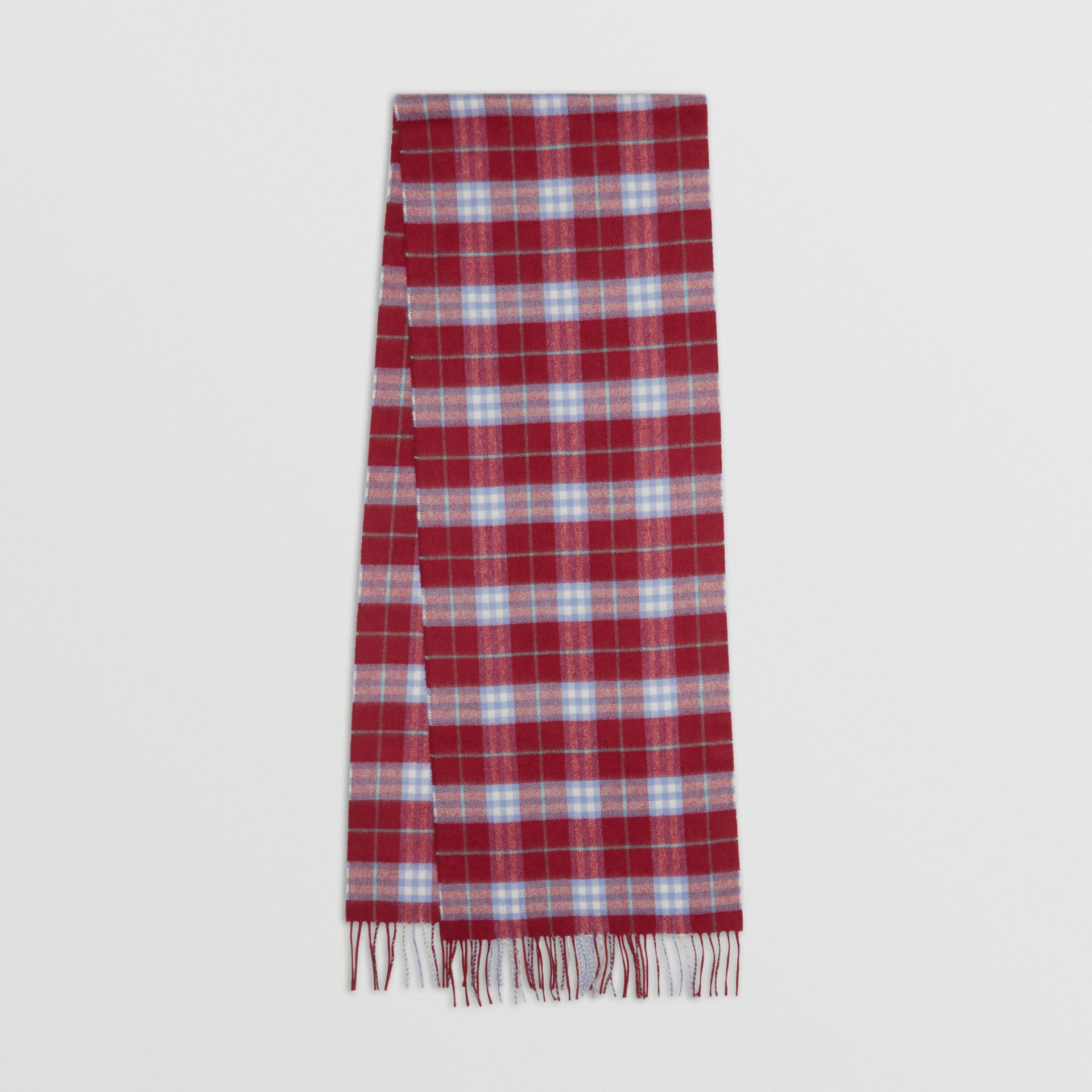 The Classic Vintage Check Cashmere Scarf in Damson Pink | Burberry - gallery image 0
