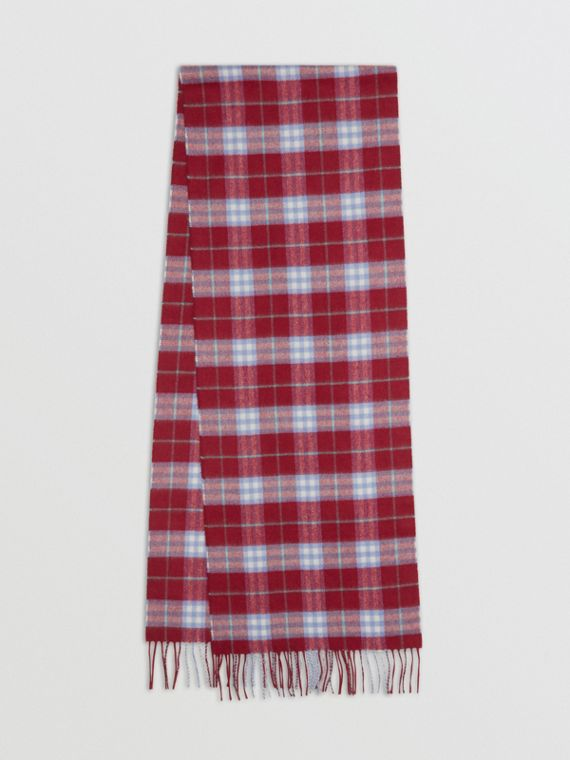 The Classic Vintage Check Cashmere Scarf in Damson Pink