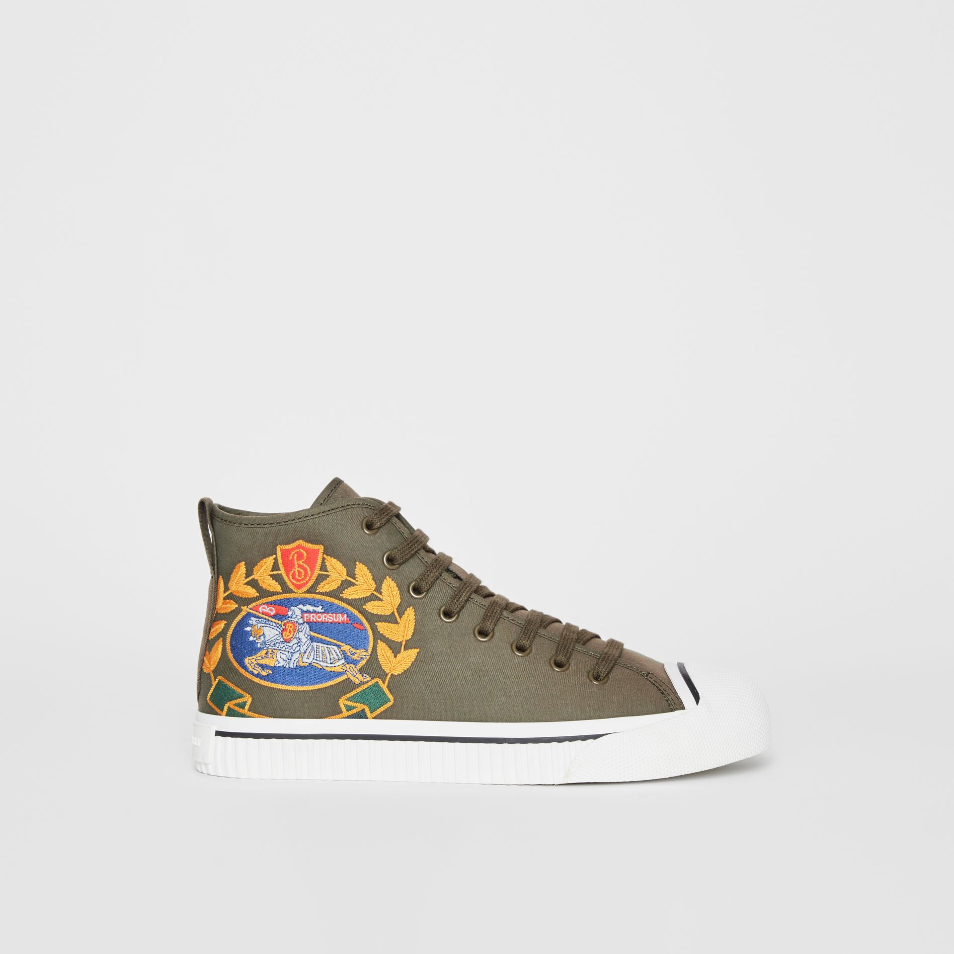 Archive Logo Cotton Gabardine High-top Sneakers in Oregano - Men | Burberry - gallery image 5
