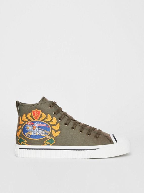 Archive Logo Cotton Gabardine High-top Sneakers in Oregano