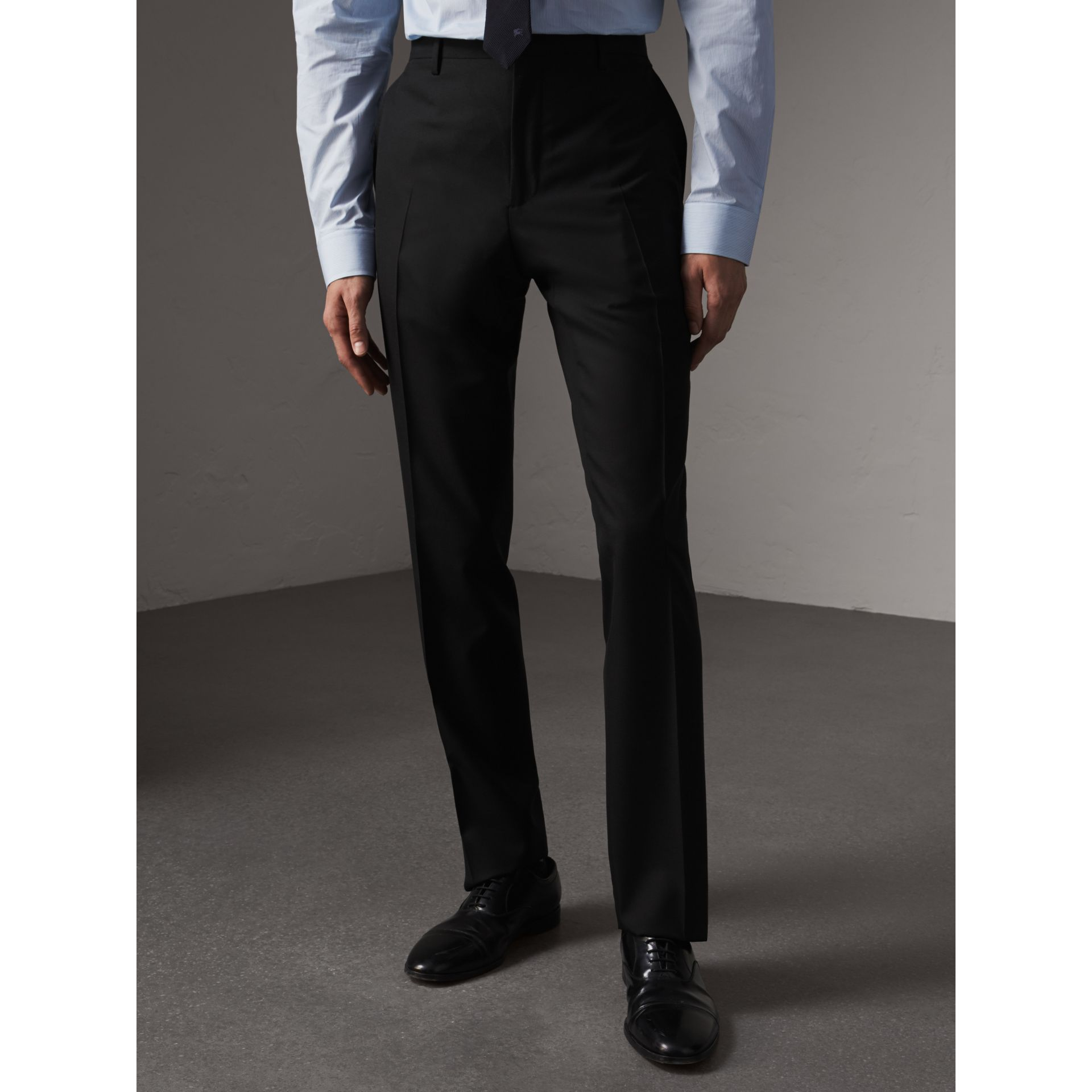 Modern Fit Wool Trousers in Black - Men | Burberry - gallery image 4